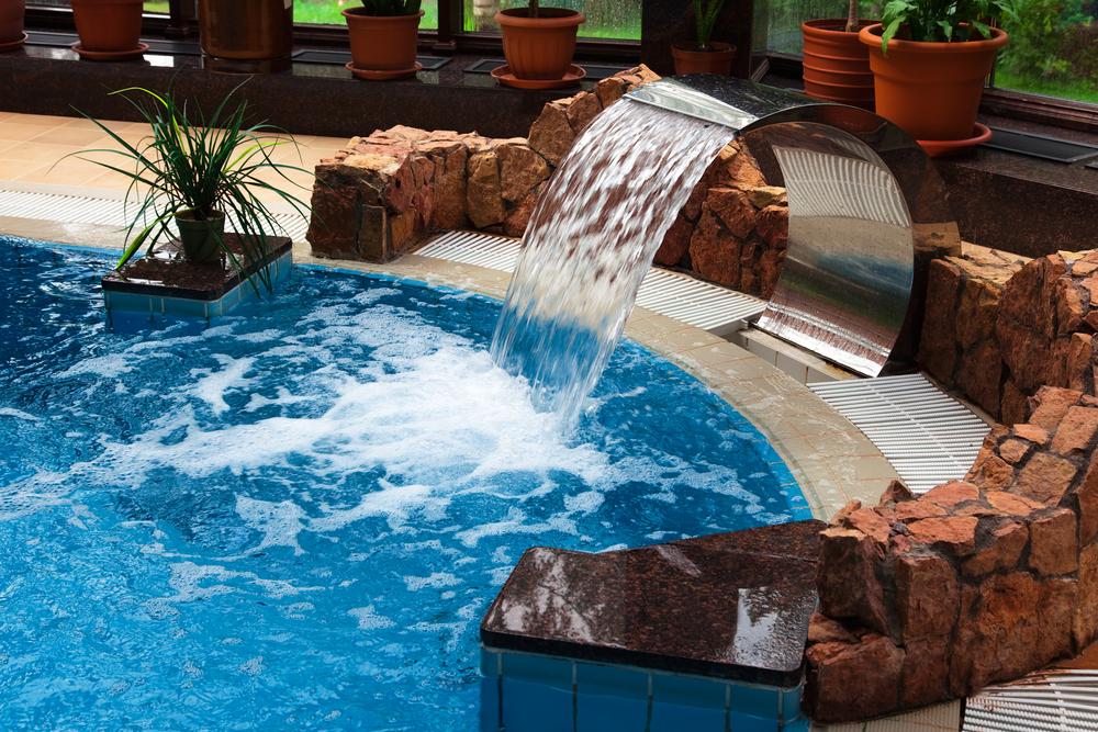 Backyard pool waterfall