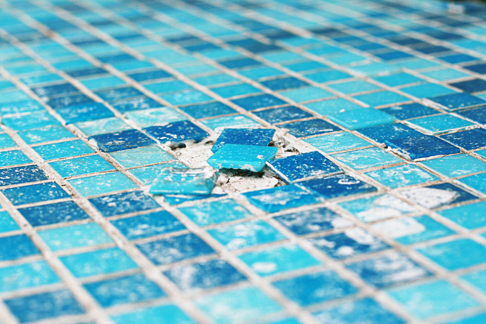 broken pool mosaic tiles